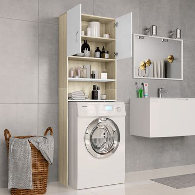 vidaXL Waschmaschinenschrank Weiß Sonoma-Eiche 64×25,5×190 cm