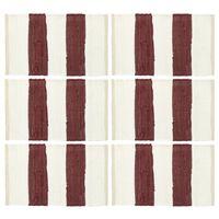 vidaXL Tischsets 6 Stk. Chindi Gestreift Weinrot und Weiß 30 x 45 cm
