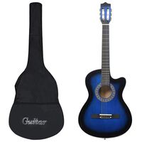 "vidaXL Western Akustik Gitarren-Set mit 6 Saiten Blau 38"""