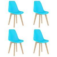 vidaXL Esszimmerstühle 4 Stk. Blau Kunststoff