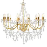 vidaXL Kronleuchter mit Perlen Golden 12 x E14-Fassungen