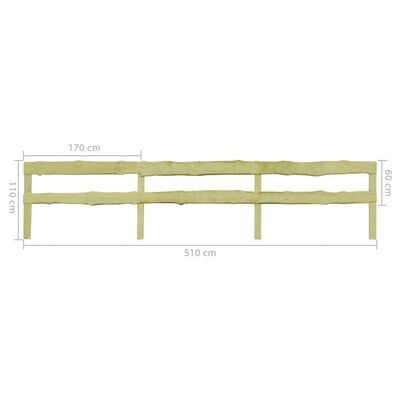 vidaXL 2-Bretter-Gartenzäune 2 Stk. Kiefernholz Imprägniert 510×60 cm