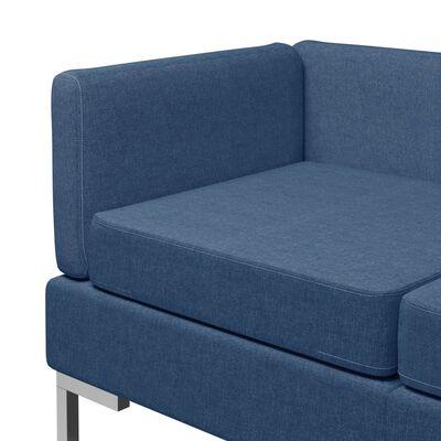 vidaXL 6-tlg. Sofagarnitur Stoff Blau