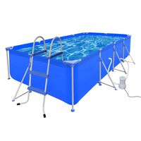 Swimming Pool with Ladder & Pump Steel 394 x 207 x 80 cm (90530+90564+90562)