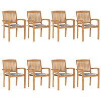 vidaXL Stapelbare Gartenstühle mit Kissen 8 Stk. Massivholz Teak