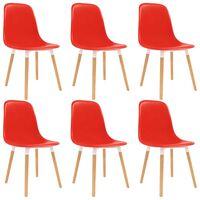 vidaXL Esszimmerstühle 6 Stk. Rot Kunststoff