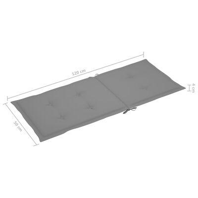 vidaXL Gartenstuhlauflagen 2 Stk. Grau 120x50x4 cm