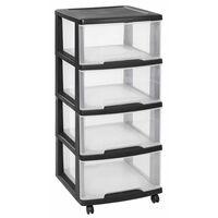Curver Schubladenschrank Essentials 80 L Transparent und Schwarz