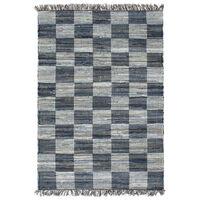 vidaXL Handgewebter Chindi-Teppich Denim 120 x 170 cm Blau