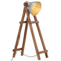 vidaXL Stehlampe Silbern E27 Mango Massivholz