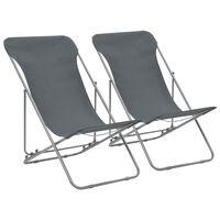vidaXL Klappbare Strandstühle 2 Stk. Stahl und Oxford-Gewebe Grau