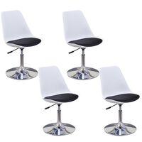 vidaXL Drehbare Esszimmerstühle 4 Stk. Weiß und Schwarz Kunstleder
