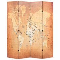 vidaXL Raumteiler klappbar 160 x 170 cm Weltkarte Gelb