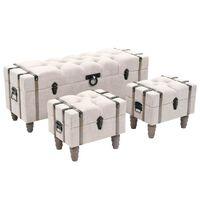 vidaXL Aufbewahrungsbank-Set 3-tlg. Massivholz und Stahl 112x37x45 cm
