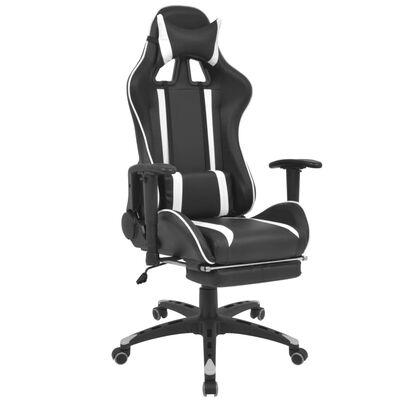 vidaXL Neigbarer Racing-Bürostuhl mit Fußstütze Weiß