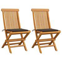 vidaXL Gartenstühle mit Taupe Kissen 2 Stk. Massivholz Teak