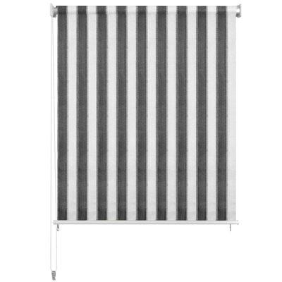 vidaXL Außenrollo 120 x 230 cm Anthrazit und Weiß Gestreift