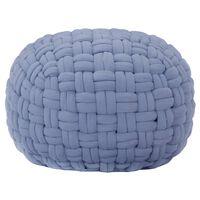 vidaXL Pouf Geflochtenes Design Blau 50 x 35 cm Baumwolle