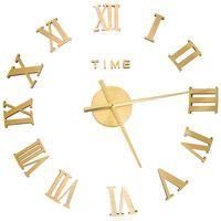vidaXL 3D-Wanduhr Modernes Design Golden 100 cm XXL