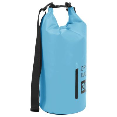 vidaXL Trockensack mit Reißverschluss Blau 20 L PVC