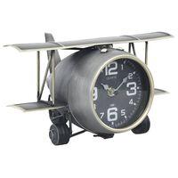 vidaXL Tischuhr Grau 26,5x19,5x15 cm Eisen und MDF