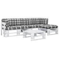 vidaXL 4-tlg. Paletten-Lounge-Set mit Kissen Weiß Kiefer Imprägniert