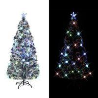 vidaXL Künstlicher Weihnachtsbaum mit Ständer/LED 150 cm Fiberoptik