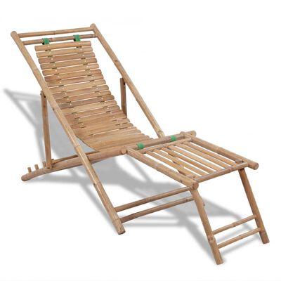 vidaXL Garten-Liegestuhl mit Fußablage Bambus