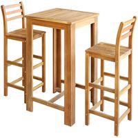 vidaXL Bartisch und Stuhl-Set 3-tlg. Akazienholz Massiv