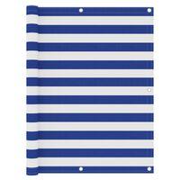 vidaXL Balkon-Sichtschutz Weiß und Blau 120x500 cm Oxford-Gewebe
