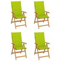 vidaXL Gartenstühle 4 Stk. mit Hellgrünen Kissen Massivholz Teak