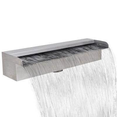 vidaXL Pool-Wasserfall Fontäne mit LEDs Rechteckig Edelstahl 45 cm