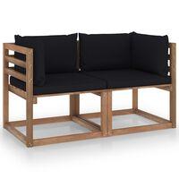 vidaXL Garten-Palettensofa 2-Sitzer mit Kissen Schwarz Kiefernholz