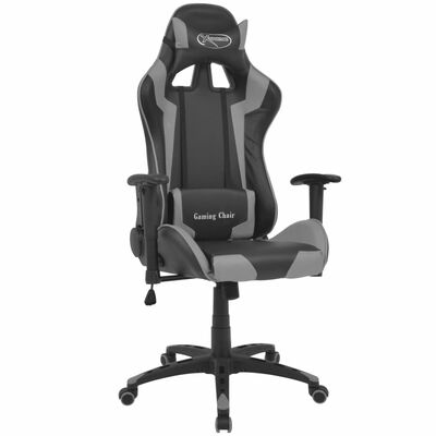 vidaXL Bürostuhl Gaming-Stuhl Neigbar Kunstleder Grau