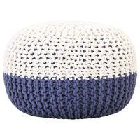 vidaXL Handgestrickter Pouf Blau und Weiß 50 x 35 cm Baumwolle