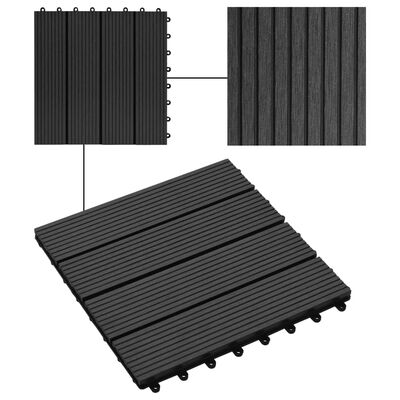 vidaXL 22 Stk. Terrassenfliesen 30 x 30 cm 2 qm WPC Schwarz