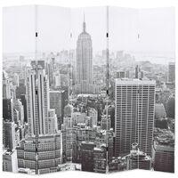 vidaXL Raumteiler klappbar 200 x 170 cm New York bei Tag Schwarz-Weiß