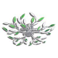 Deckenlampe güne und weiße Blätterranken mit Acryl-Blättern 5x E14