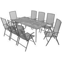 vidaXL 9-tlg. Garten-Essgruppe mit Klappstühlen Stahl Anthrazit