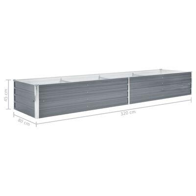 vidaXL Garten-Hochbeet Verzinkter Stahl 320x80x45 cm Grau