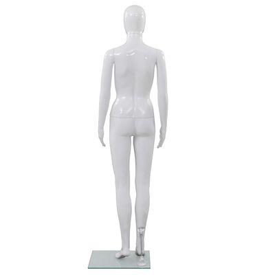 vidaXL Weibliche Schaufensterpuppe mit Glassockel Weiß 175 cm