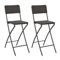 vidaXL Klappbare Barstühle 2 Stk. HDPE und Stahl Braun Rattanoptik