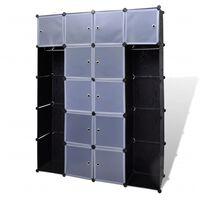 vidaXL Modularer Schrank mit 14 Fächern schwarz/weiß 37x146x180,5cm