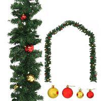 vidaXL Weihnachtsgirlande Geschmückt mit Kugeln 10 m