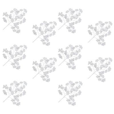 vidaXL Künstliche Blätter Ginko 10 Stk. Weiß 65 cm