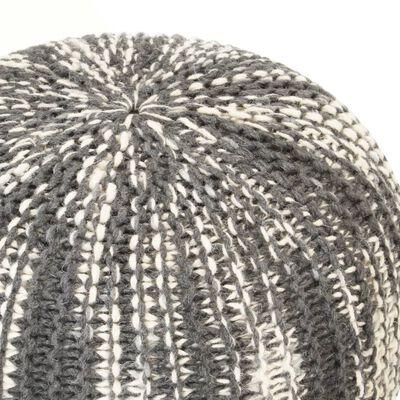 vidaXL Handgestrickter Pouf Dunkelgrau und Weiß 50×35 cm Wolle