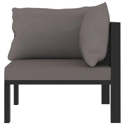 vidaXL Sofa-Eckelement mit Linker Armlehne Poly Rattan Anthrazit