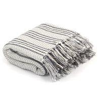 vidaXL Überwurf Baumwolle Streifen 125 x 150 cm Grau und Weiss