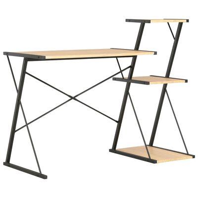 vidaXL Schreibtisch mit Regal Schwarz und Eiche 116×50×93 cm