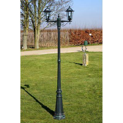 vidaXL Gartenlaterne 2-flammig 215 cm Dunkelgrün/Schwarz Aluminium